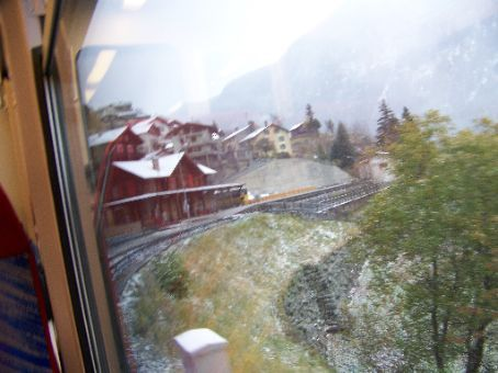 heading into the station high up in the alps