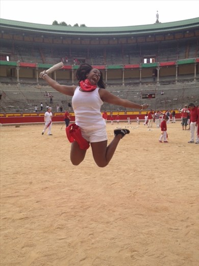 Victory Jump after running with the Bulls in Pamplona, Spain
