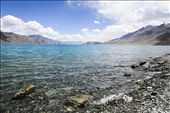 Pangong Tso, at 4,350m, mostly lies in territory claimed by China. The brackish water lake appears to cycle through stunning shades of blue and green through the day, but its recent popularity with Indian tourists owes more to its cameos in Bollywood hits such as '3 Idiots'.: by sharsidd, Views[1024]