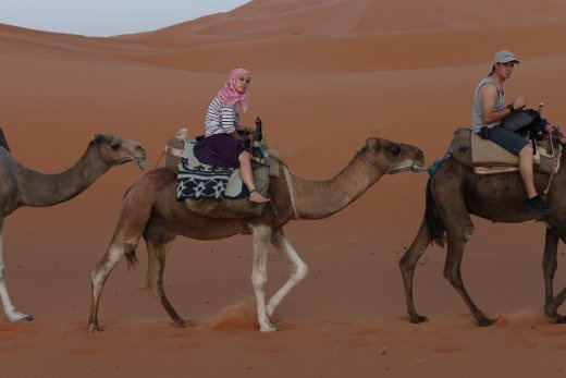 Camel riding in the Sahara desert. This is the trek towards no mans land.