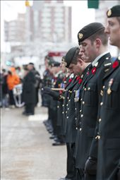 The City Centre resonates with silence as the soldiers bow their heads to pay tribute to Canadians lost in war.  The sincerity of the soldiers' homage is magnified by their bowed silhouettes, which fade to the distant towers that reach upwards from the concrete.  Like the crosses standing row by row in Flanders Fields, as depicted in the poem by Canadian John McCrae, the lines of soldiers are rigid with purpose.  Only the water crystals in their breath shimmer in the bright sun to form wisps of smoke, and then gently fall to the ground as ice droplets. : by shelbydeep, Views[517]