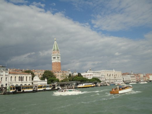A view of Venice with the Bell Tower from a vaporetto.