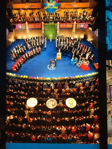 Photo of the Nobel Ceremony below some of the real medals.