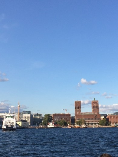 Oslo from the water. The 2 towers denote the city hall, which unfortunately we didn't have time to explore.