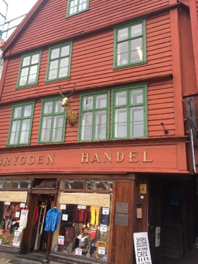 One of the remaining Hanseatic buildings in the Bryggen sector turned shop. The illiterate fisherman needed something to recognize the different Hanseatic trading houses, hence the animal symbol.