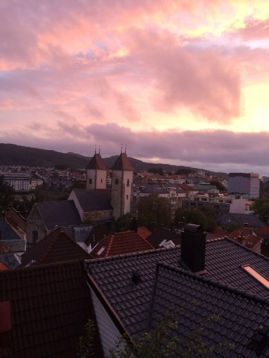Bergen at sunset after the rain.