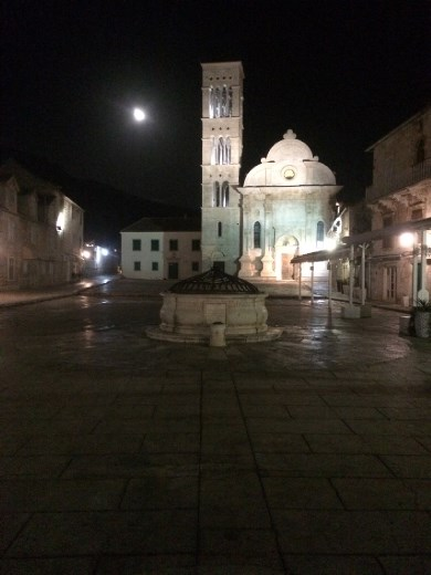 A beautiful full moon above the main square in Hvar.