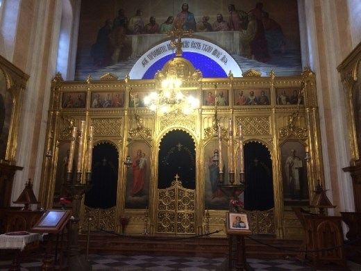 Poor lighting (sigh), but some idea of the interior of the Orthodox Church.
