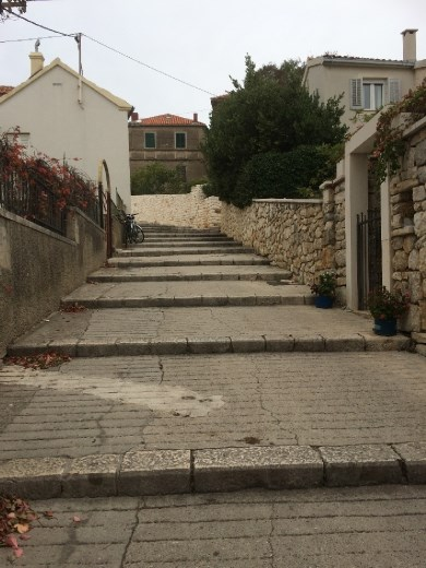 Up the steps in Split for a view of the city near Marjan Hill.