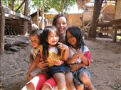 Lauren with the ever present kids in Muang Noi. They are everywhere!: by shockalotti, Views[272]