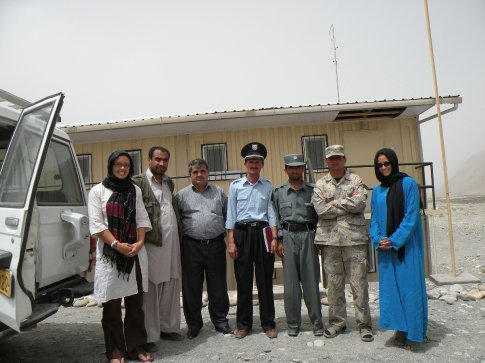 Heidi (in white) and me (in blue) with our AKF-A colleague and border guards