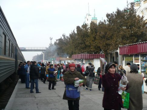 The train station market scene at one of our brief stops (I think this one was in Turkistan in Kazakhstan)