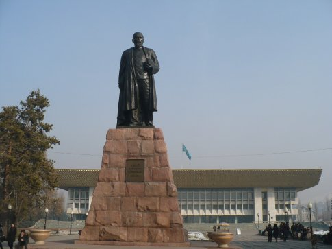 A statue of Abai Kunanbaev, a famous Kazakh writer and poet, in front of the theatre