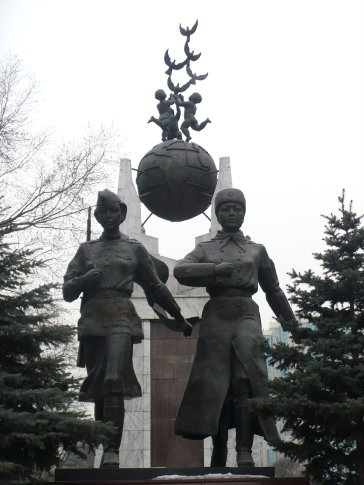 A monument to Kazakh soldiers who fought in WWII (and impressively is of 2 women)