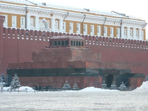 Lenin's Mausoleum in the Red Square. Inside, his body is embalmed and displayed for open viewing