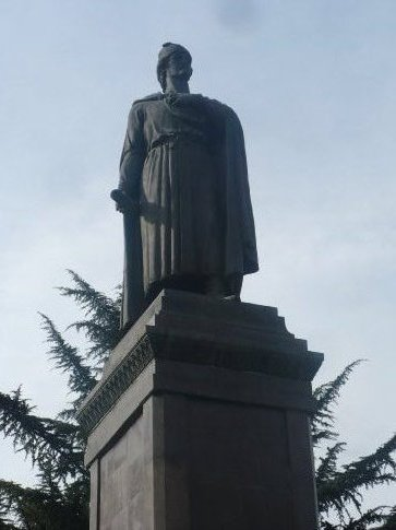 Statue of Rustavelli looking over Independence Square in the centre of Tbilisi