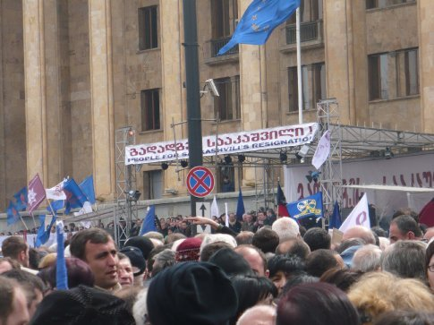 As many different opposition parties as there were, they all called for the resignation of increasingly unpopular President Saakashvili