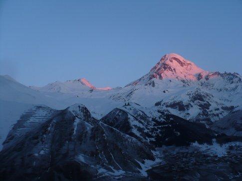 Mount Kazbegi in the distance