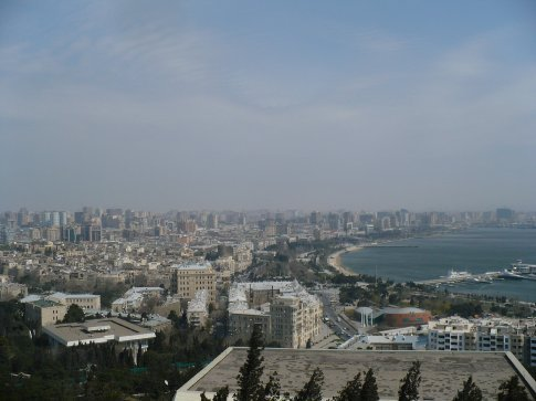 The Baku skyline, viewed from a hill at the top of the city