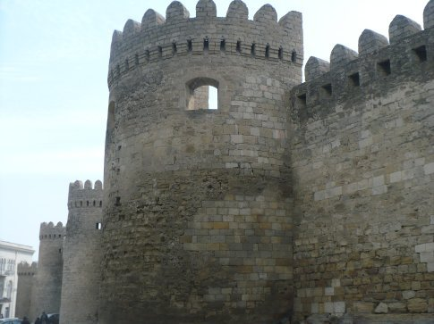 The fortress walls of the medieval Old Town section of Baku