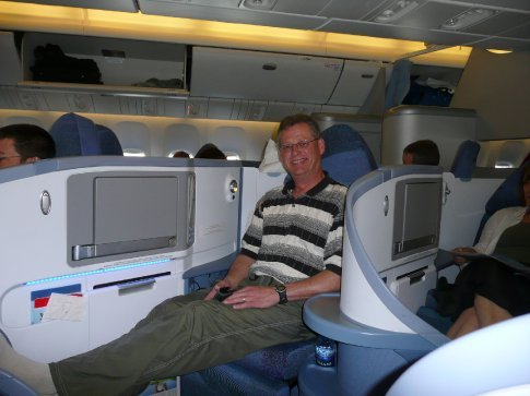 ... In the meantime, he was having the flight of his life from Toronto, after being bumped up to first class for free!