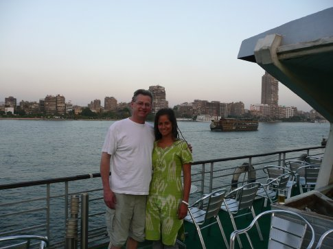 A few hours after Dad landed in Cairo and was settled in the hotel, we went on a 2-hr dinner & show cruise on the Nile