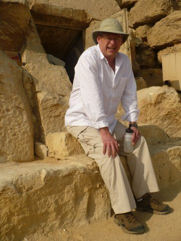 Dad taking a breather before climbing down 60 m into the pyramid to check out a tomb