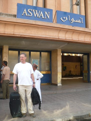 Arrival at the train station in Aswan