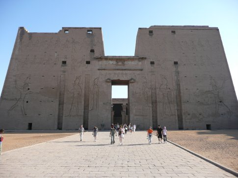 Edfu Temple was finished in 57 BC and is known as the best preserved temple in Egypt. The temple on the left side represents King Ptolemy battling his Lower Egypt enemies; the temple on the right side depicts King Ptolemy against his Upper Egypt enemies