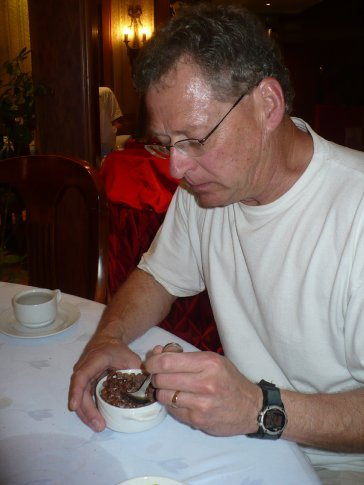 Dad enjoying a bowl of Coco Puffs (not as good as he remembered, though)