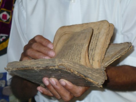 An ancient book, part of a collection that the owner is hoping to turn into a regional museum