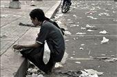 Marta, a homeless, praying to the Black Nazarene from afar: by shutterjunkee, Views[418]