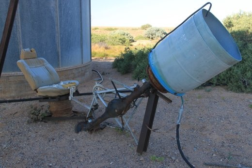 This was a concrete mixer made from a bike, a rear axle and a washing machine tub....someone missed their calling.