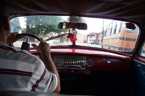 Inside of our cab in Santa Clara