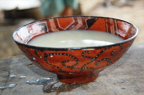 A bowl of chicha in Juyuintza village, Amazon