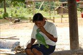 Monica feeding a bird moth to mouth at Juyuintza tribe- Ecuadorian Amazon: by simonefrancis, Views[459]
