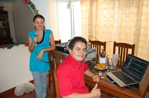 Monica and her husband, ready to interview me on radio.- Cucuta