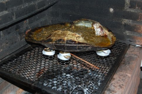 Cooked turtle for dinner in Manaus, Brazil