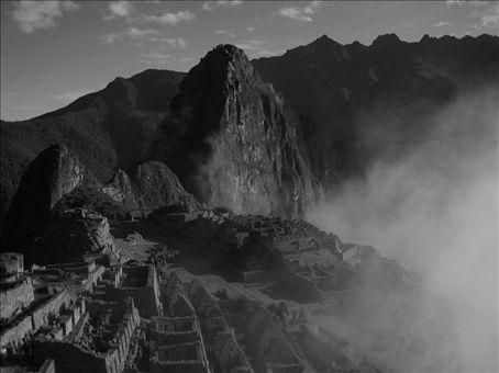 Machu Picchu with clouds (B&W version)