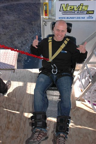 Ready to jump at Nevis Bungy, calm as you like... haha!