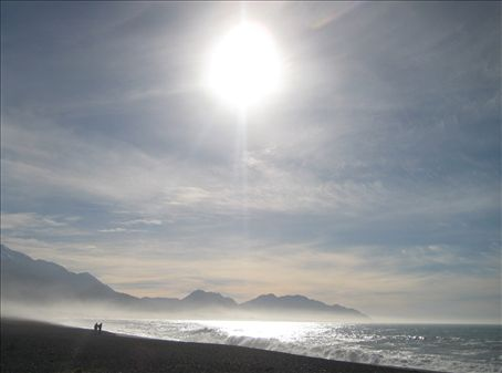 Early morning on the beach at Kaikoura