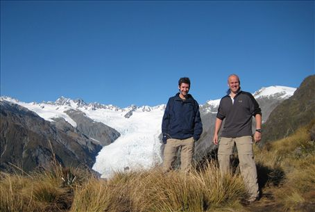 Chris & I stood on top of Alex's Knob with the Franz Joseph Glacier behind us