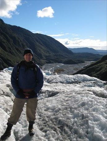 Stood on Franz Joseph Glacier after hiking up it, complete with ice-spikes... 8-)