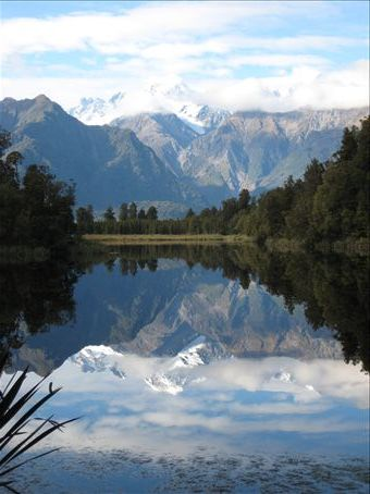 Mirror lake with Mt Cook and Mt Tasman in the background