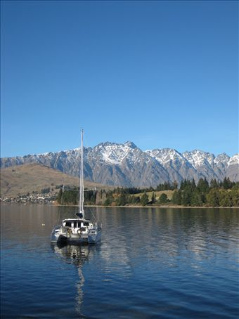 View of the Remarkables Mountain range over Lake Wakatipu