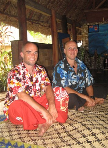 Me & my expert wingman Dave on the chiefs mat during a Sevusevu.