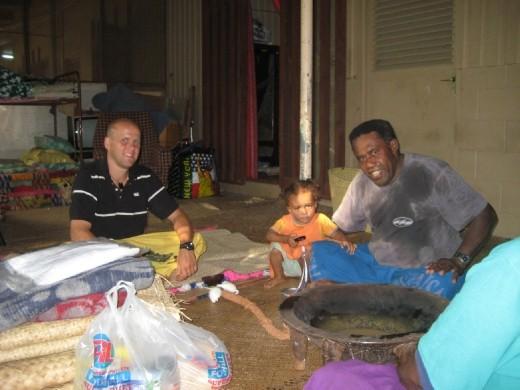Presenting my Sevu sevu and Tabua to Tevita's father at their home just outside Nadi, Fiji