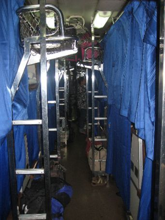 The night train from Bangkok to Chiang Mai ready for sleep