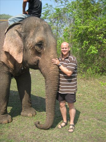 Me and Comemoon at Elephants and Friends, Kanchanaburi.