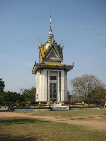 The bone monument at the killing fields near Phnom Pehn.